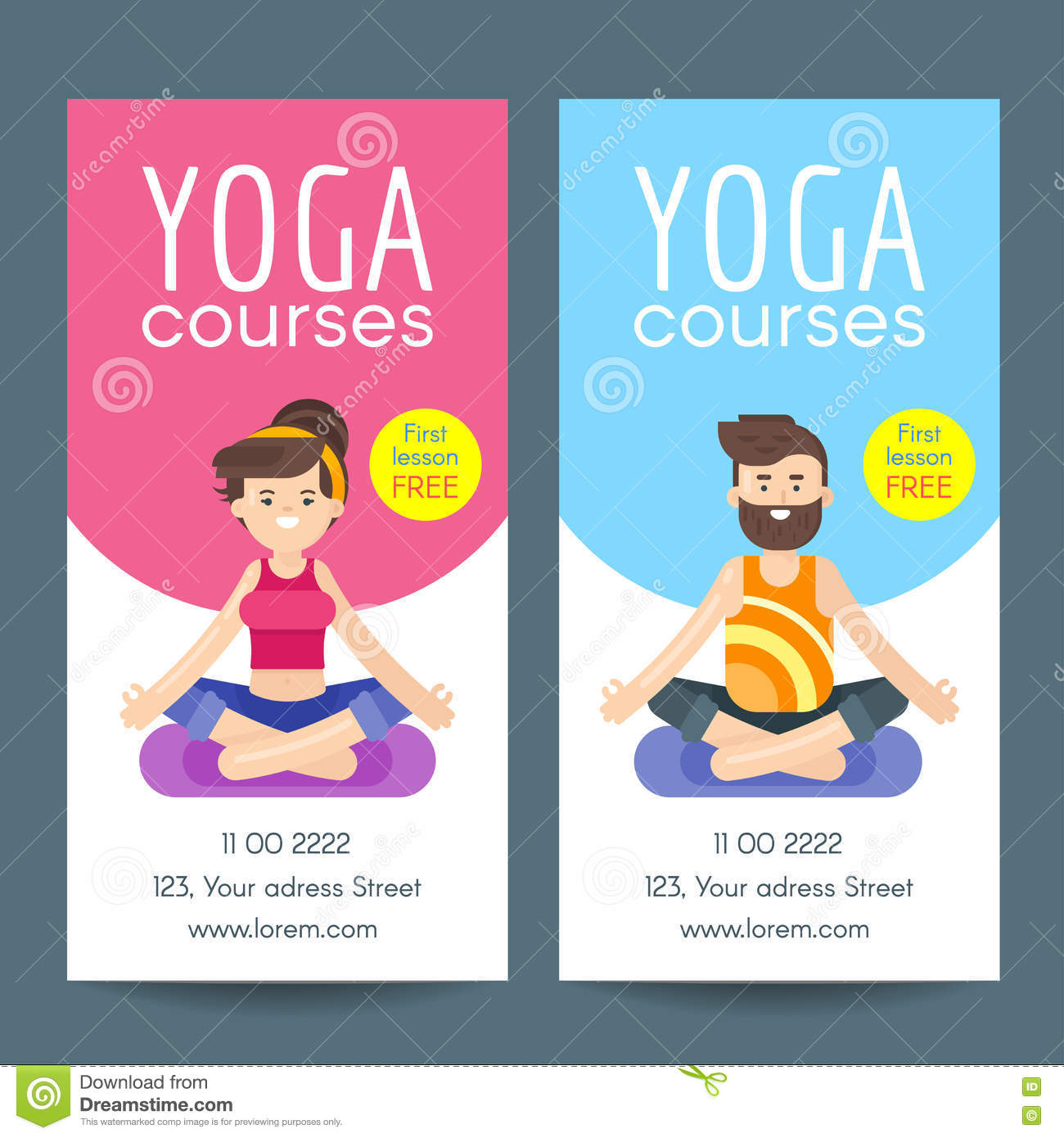 Vector Flat Style Design Template For Yoga Flyer Stock Vector
