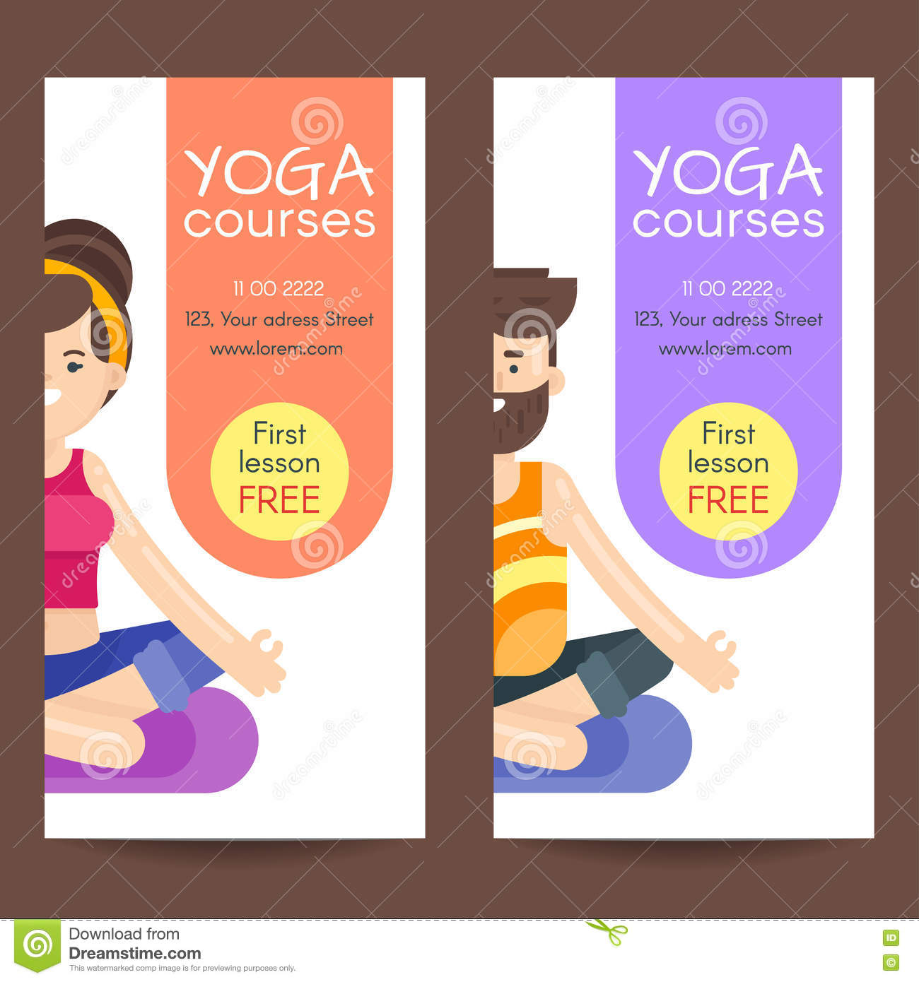 Vector flat style design template for yoga flyer vector for Yoga brochure templates free