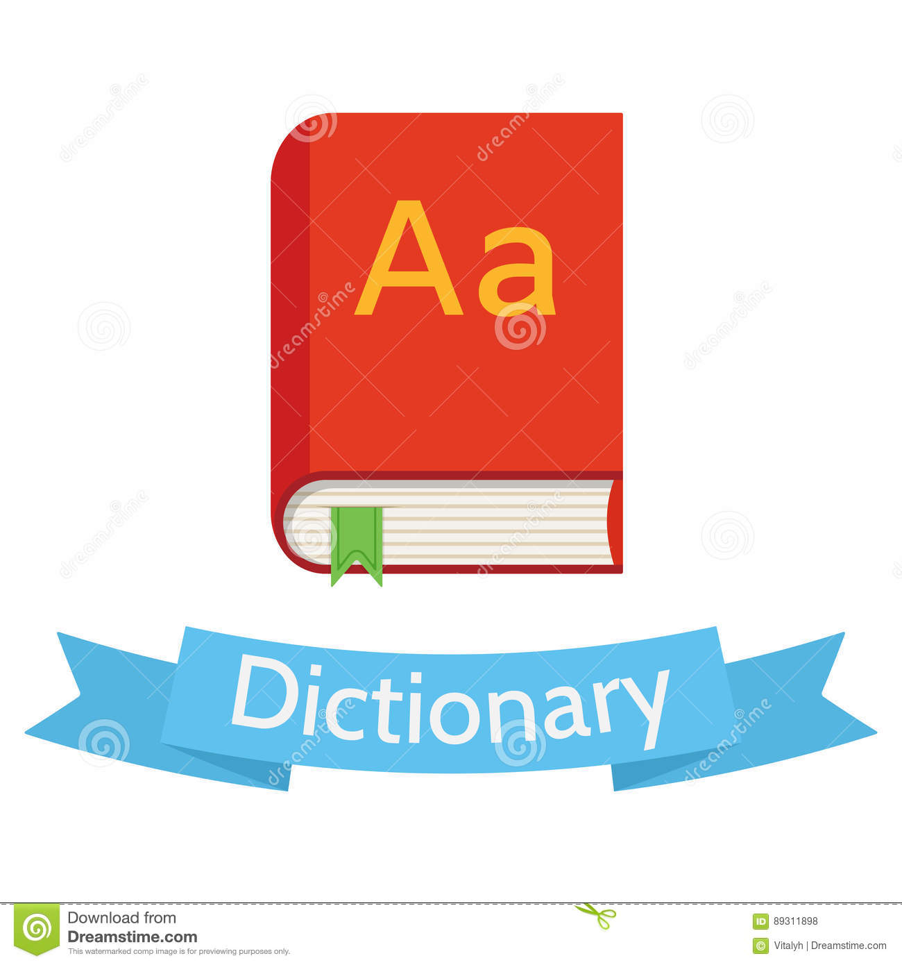 Vector Flat Style Dictionary Illustration Stock Vector