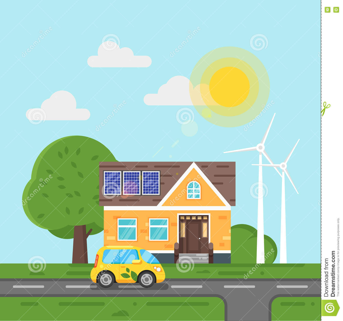 Vector Flat Style Illustration Of Electric Car And House With