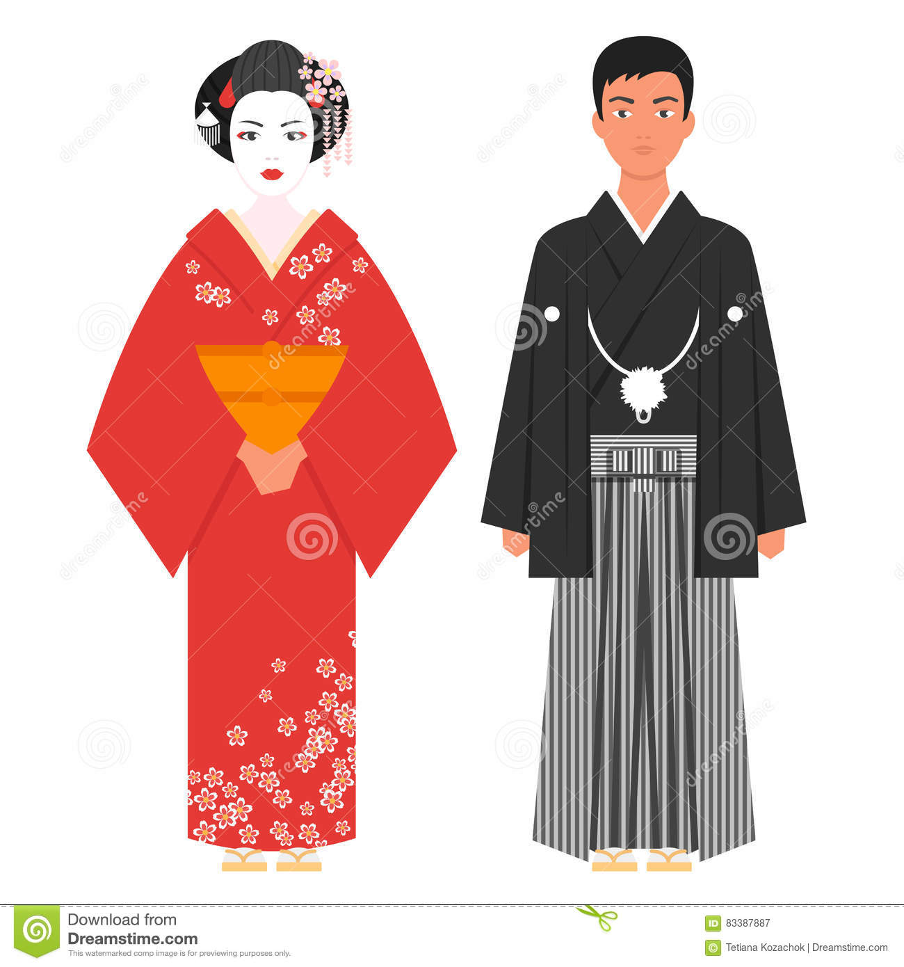 Vector flat style illustration of japanese traditional clothing stock vector illustration of Japanese fashion style icon