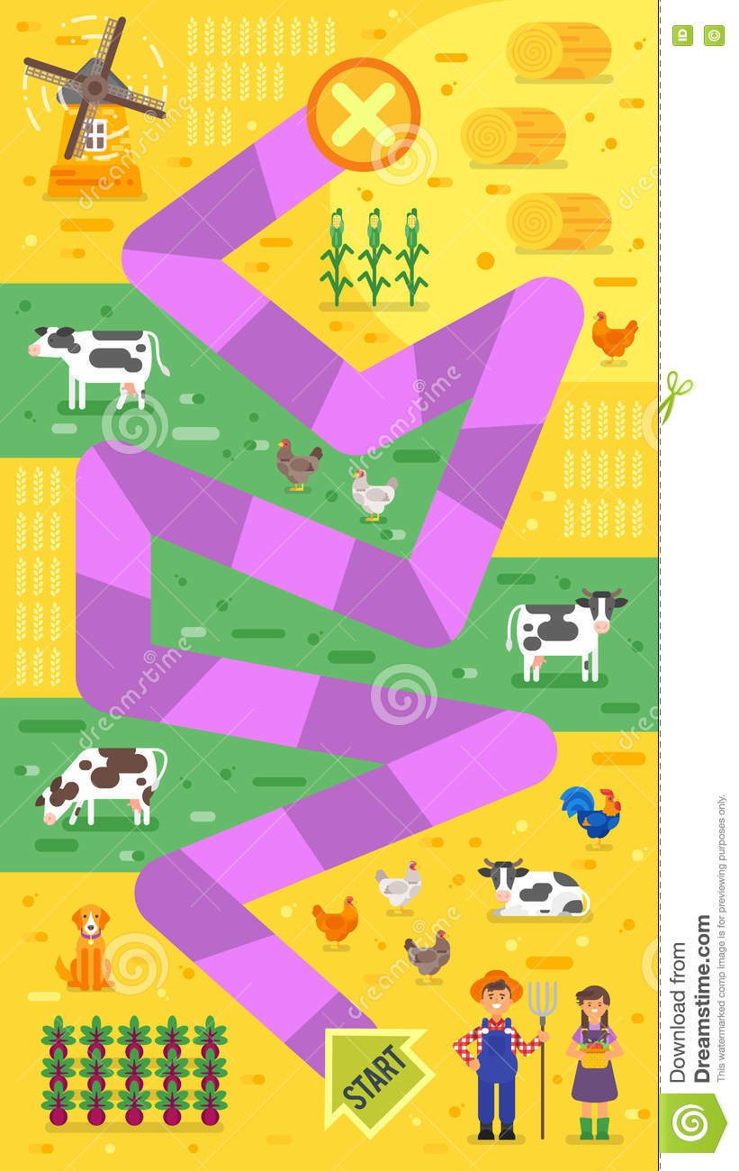 Vector Flat Style Illustration Of Kids Farm Board Game Template