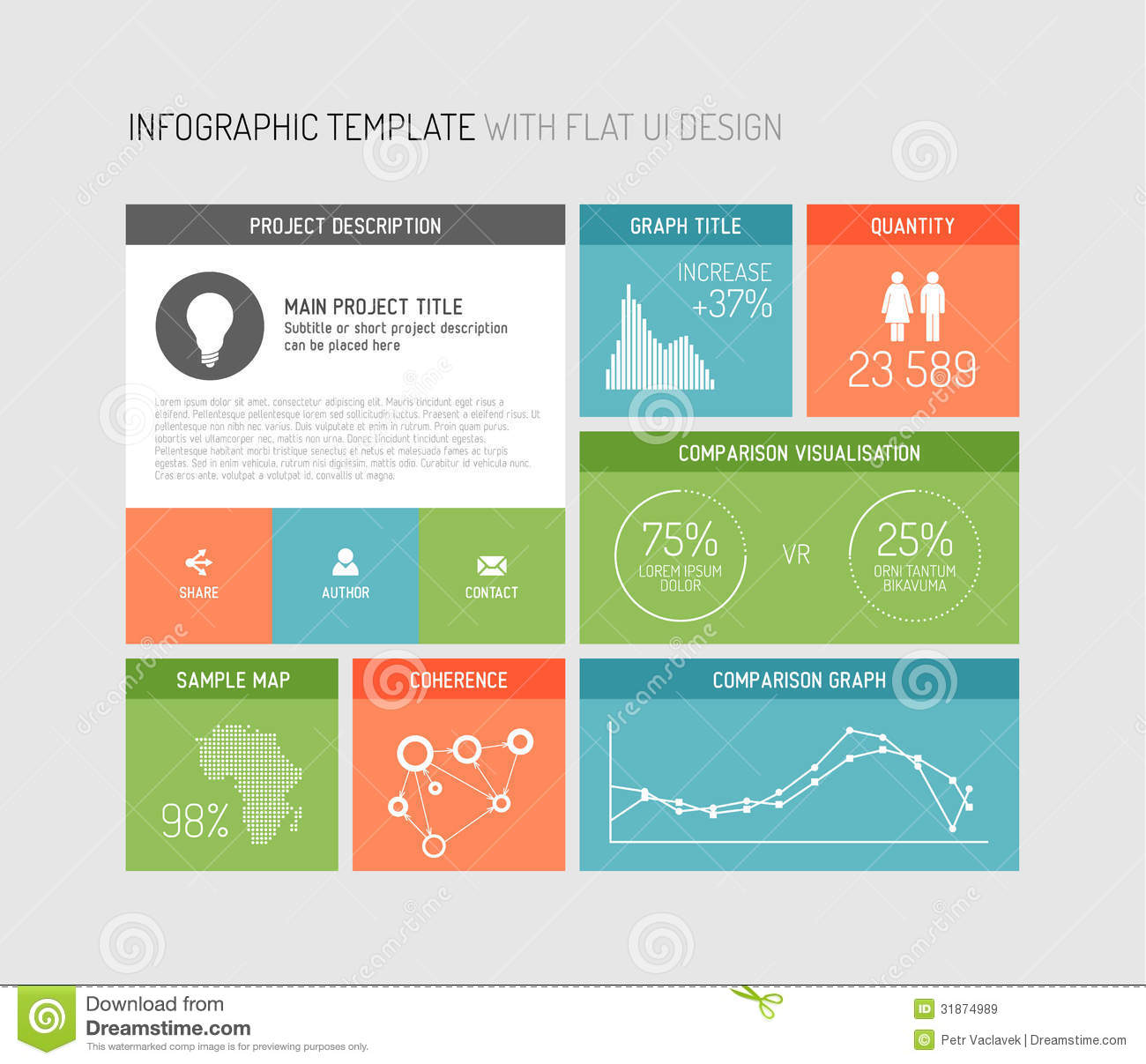 Vector flat user interface infographic stock vector for User interface design document template