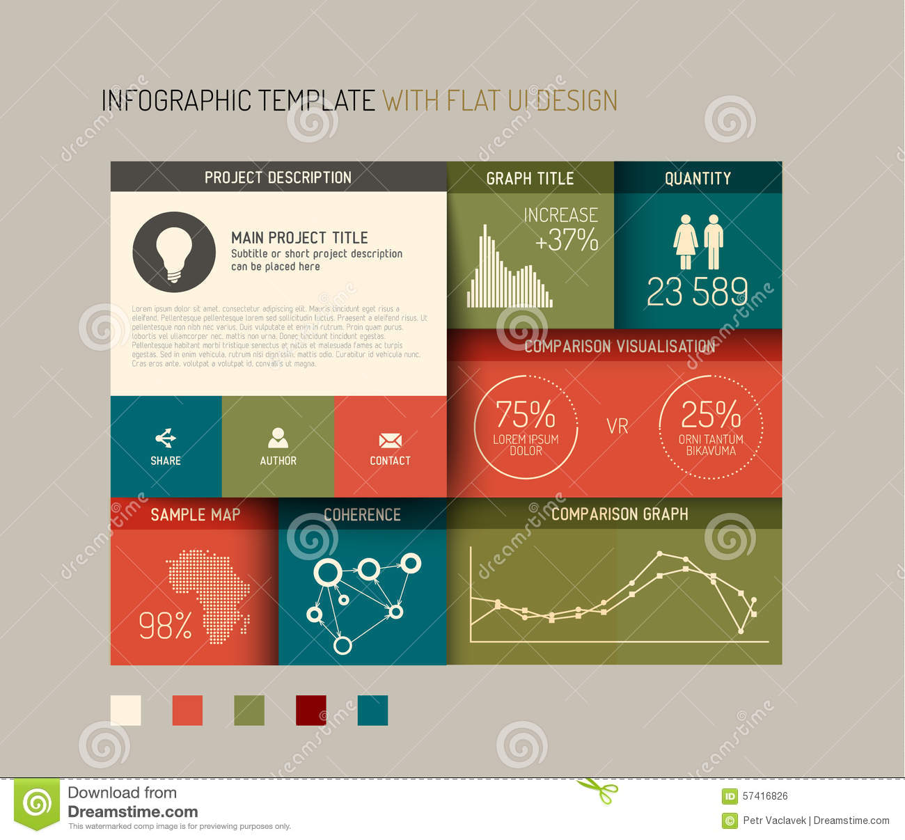 Vector flat user interface ui infographic template for User interface design document template
