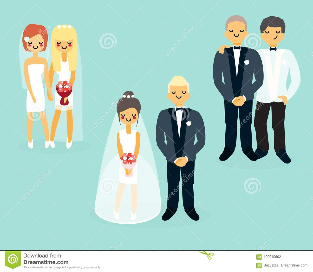 Vector Flat Wedding Characters Icons Set Stock Vector - Illustration ...