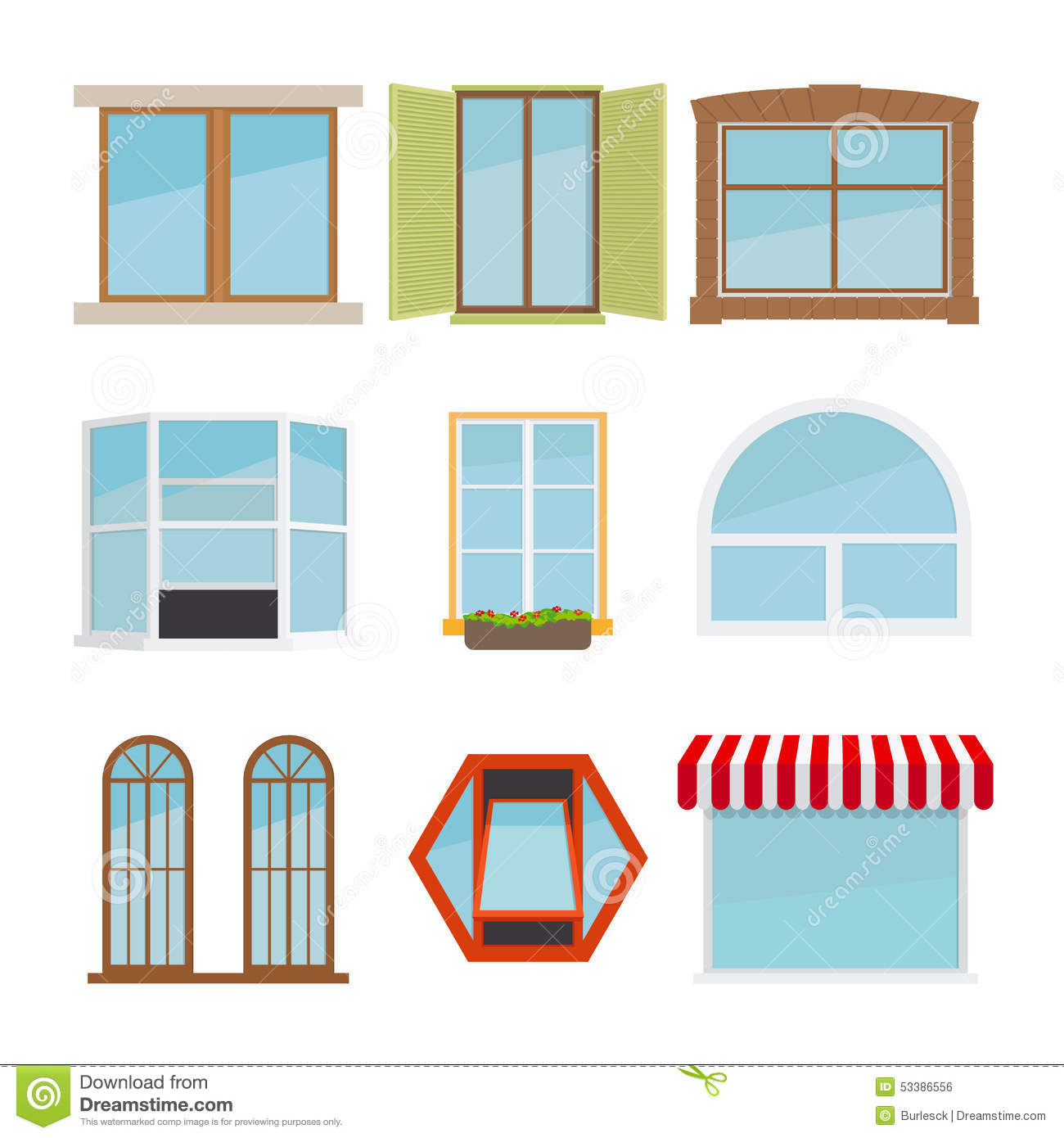 Vector flat window set stock vector image of exterior for Flat exterior design