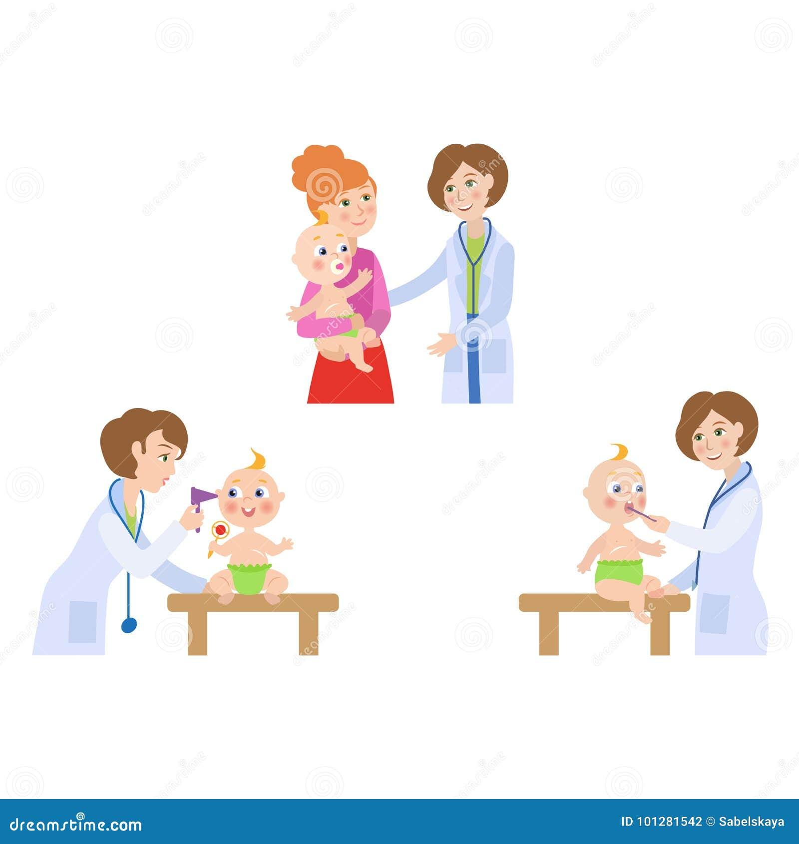 b1bd96f5d Vector Flat Female Doctor Infant Baby Scene Set Stock Vector ...