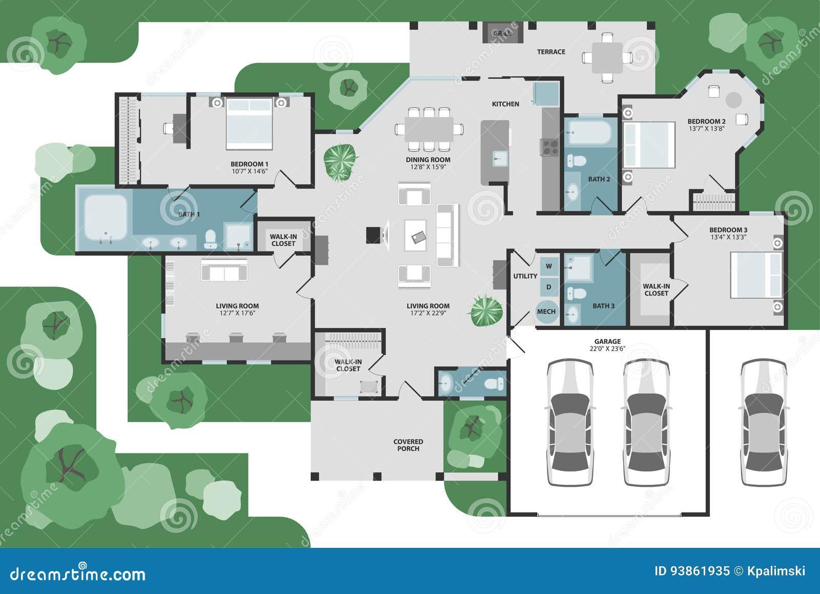 Vector Floor Plan Of A House Stock Vector