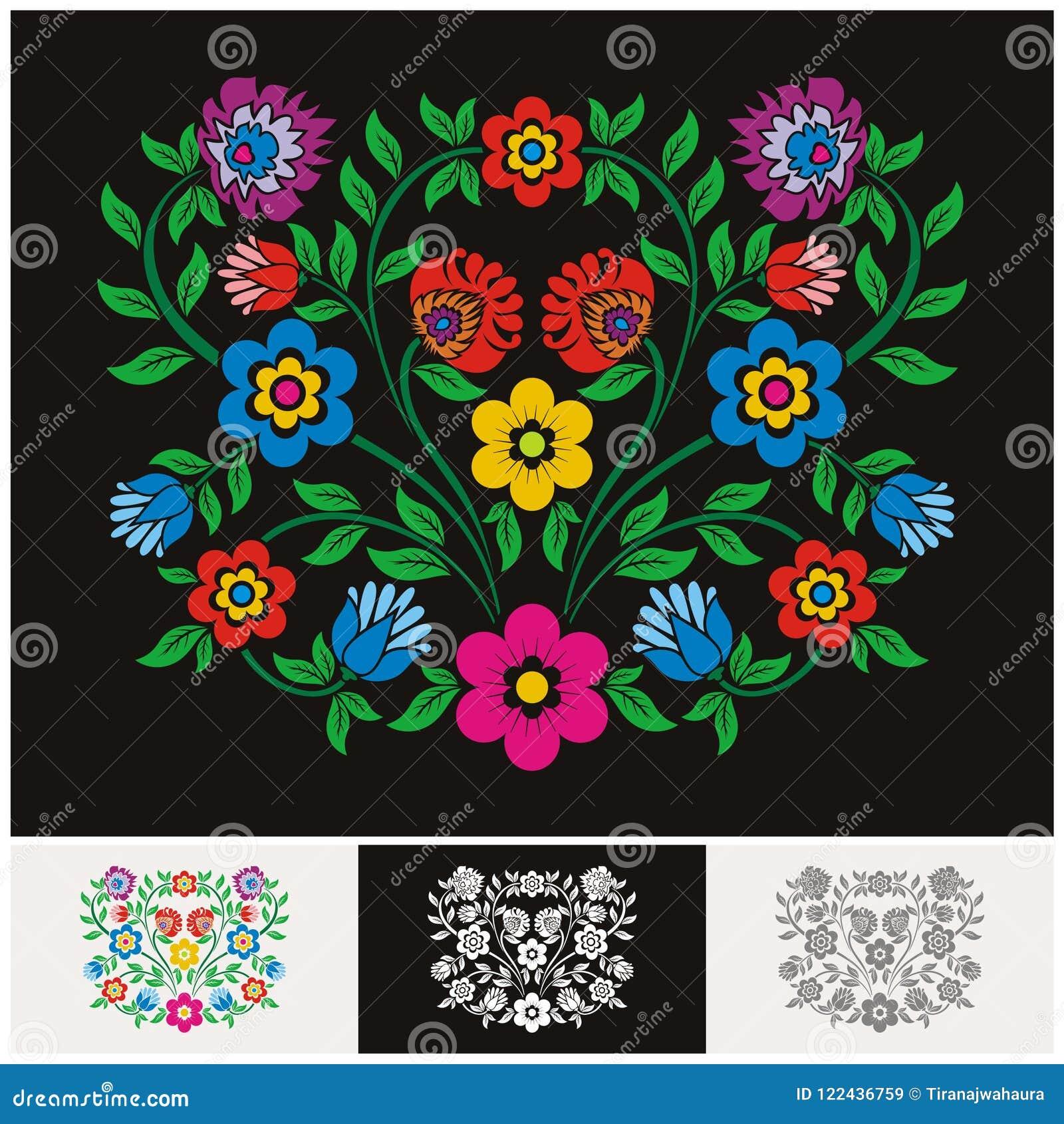 Vector floral étnico mexicano con diseño precioso y adorable