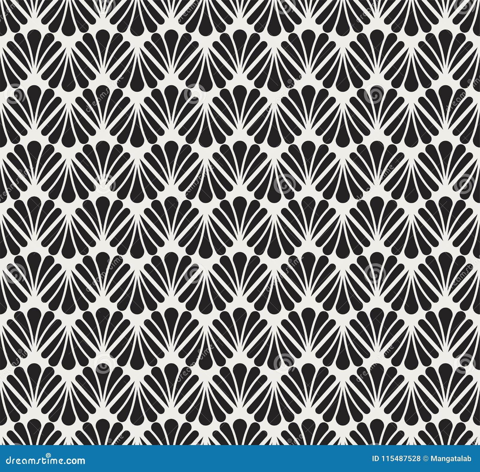 Vector Floral Art Nouveau Seamless Pattern Geometric Decorative