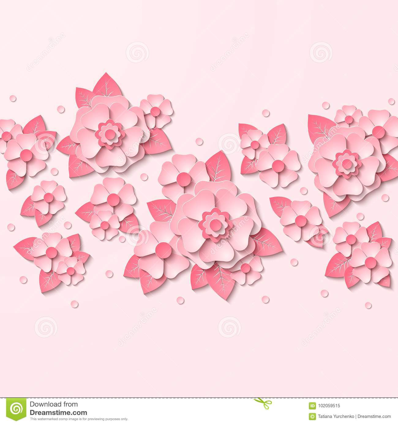Vector Floral Background With 3d Pink Flowers Cut Out