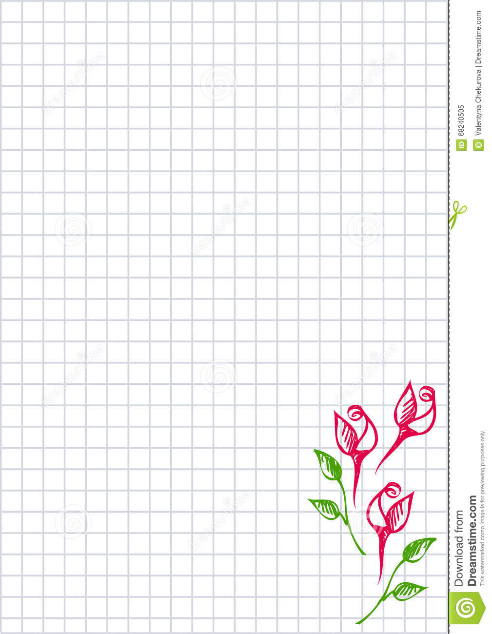 Vector Floral Blank For Letter Or Greeting Card Checkered