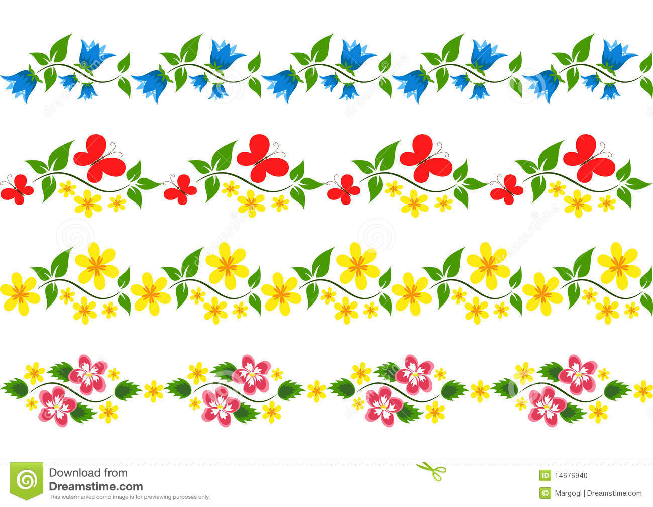 Vector floral border  Set  Vector illustration Vector Floral Border