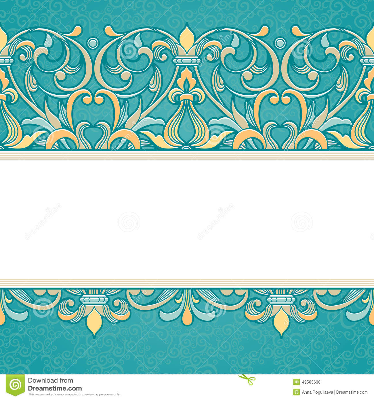 Vector Floral Border In Victorian Style. Stock Vector - Image: 49583638