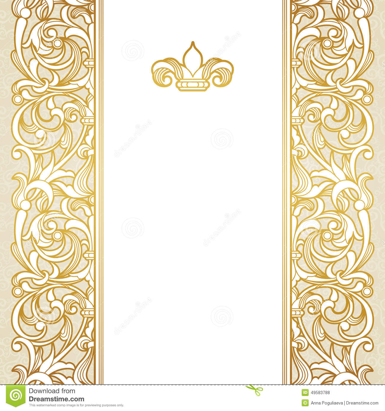 Vector Floral Border In Victorian Style. Stock Vector