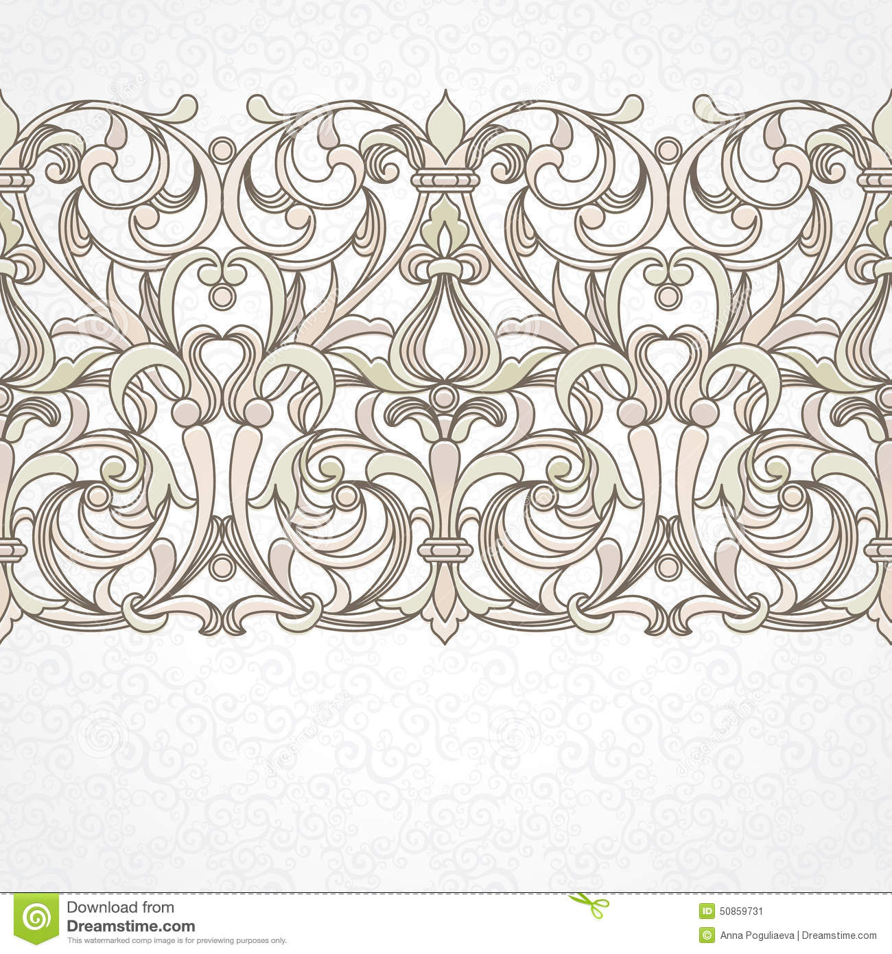 Vector Floral Border In Victorian Style Stock Vector