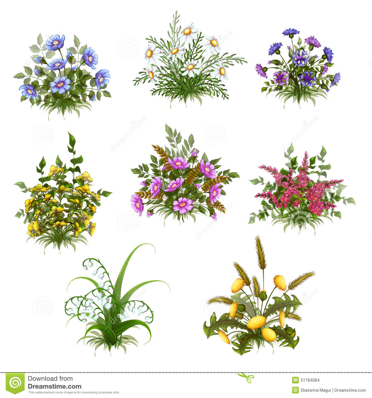 Vector Floral Bush Set On Transparent Background Stock Vector - Image ...