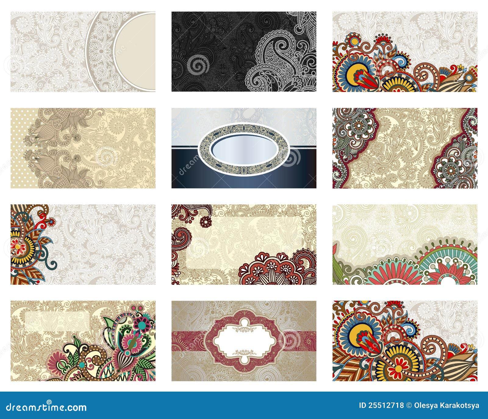 Vector Floral Business Card Set Stock Illustration - Illustration of ...