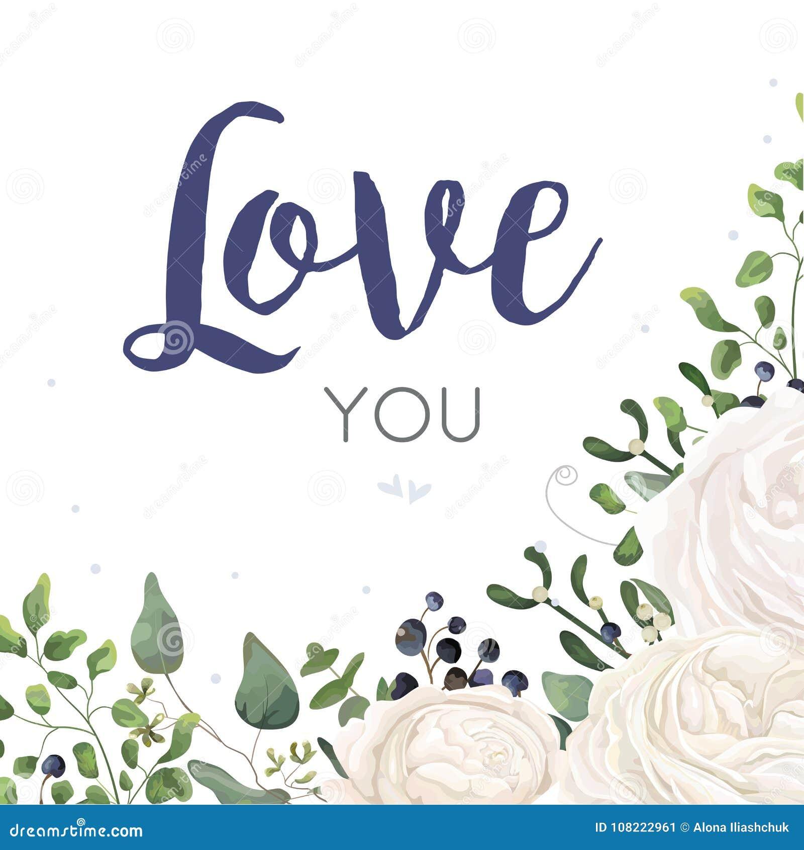 Vector floral card Design with watercolor white ranunculus flower blue berry eucalyptus mistletoe fern leaf bouquet border. Weddin