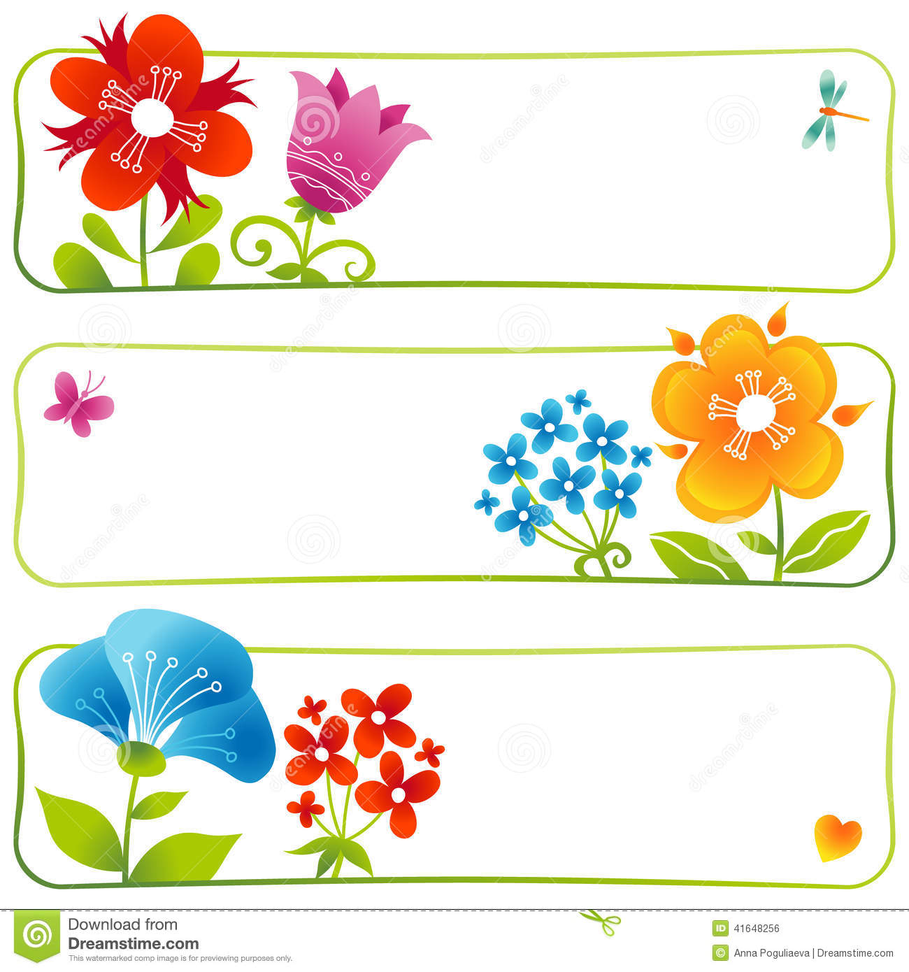 Vector Floral Cards. Stock Vector - Image: 41648256