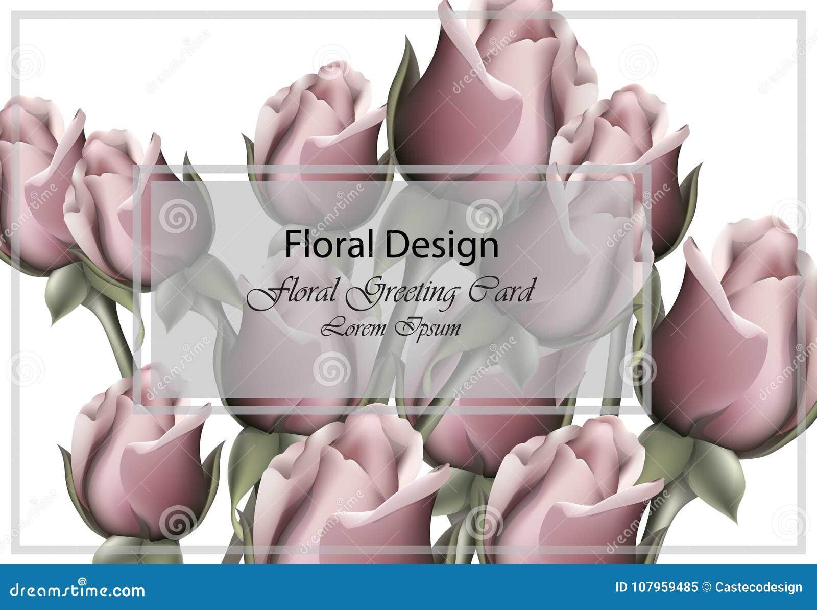 Vector floral de la tarjeta de felicitación de las rosas realista Fondo romántico de la plantilla del ramo de las flores