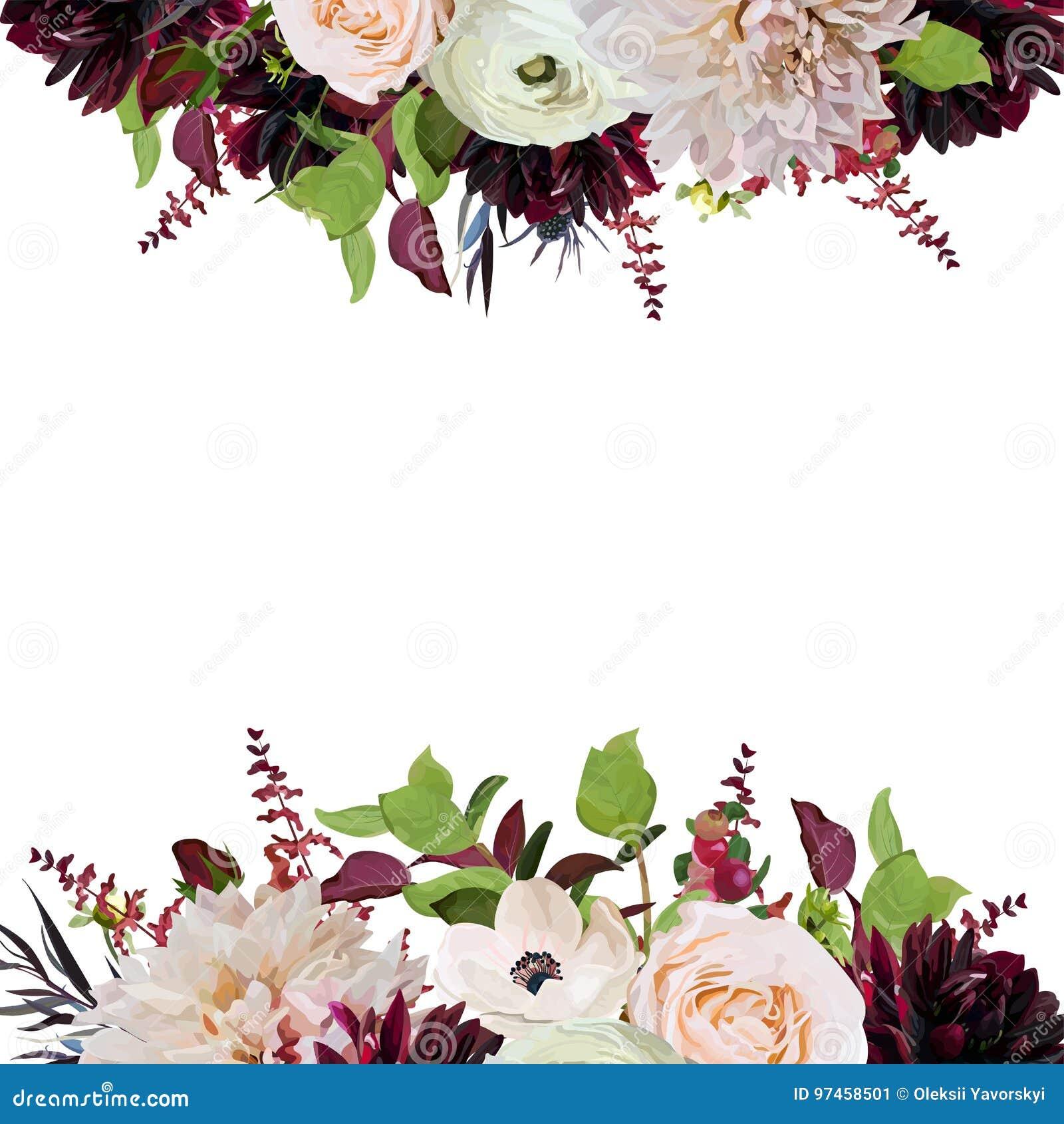Vector floral design square card design pink Rose burgundy Dahlia flowers Anemone red Astilbe Agonis green garden leaves Wedding