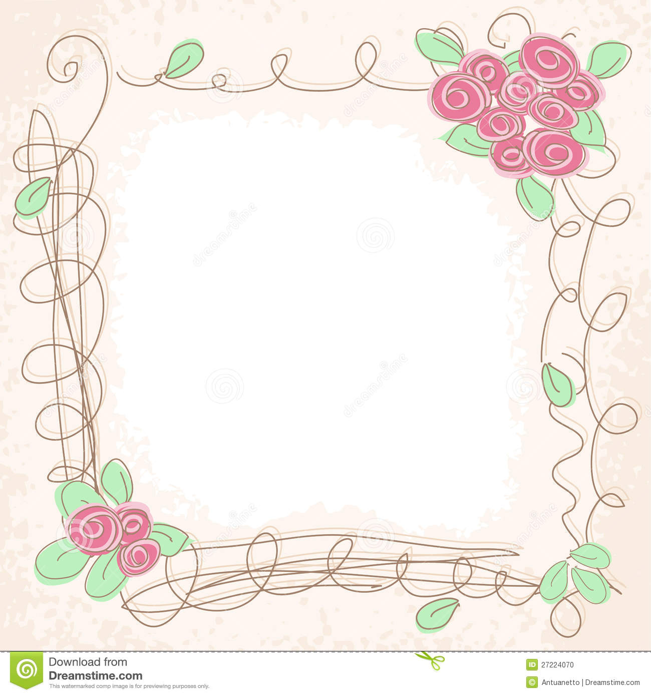 Vector floral doodle frame stock vector. Image of drawing ...