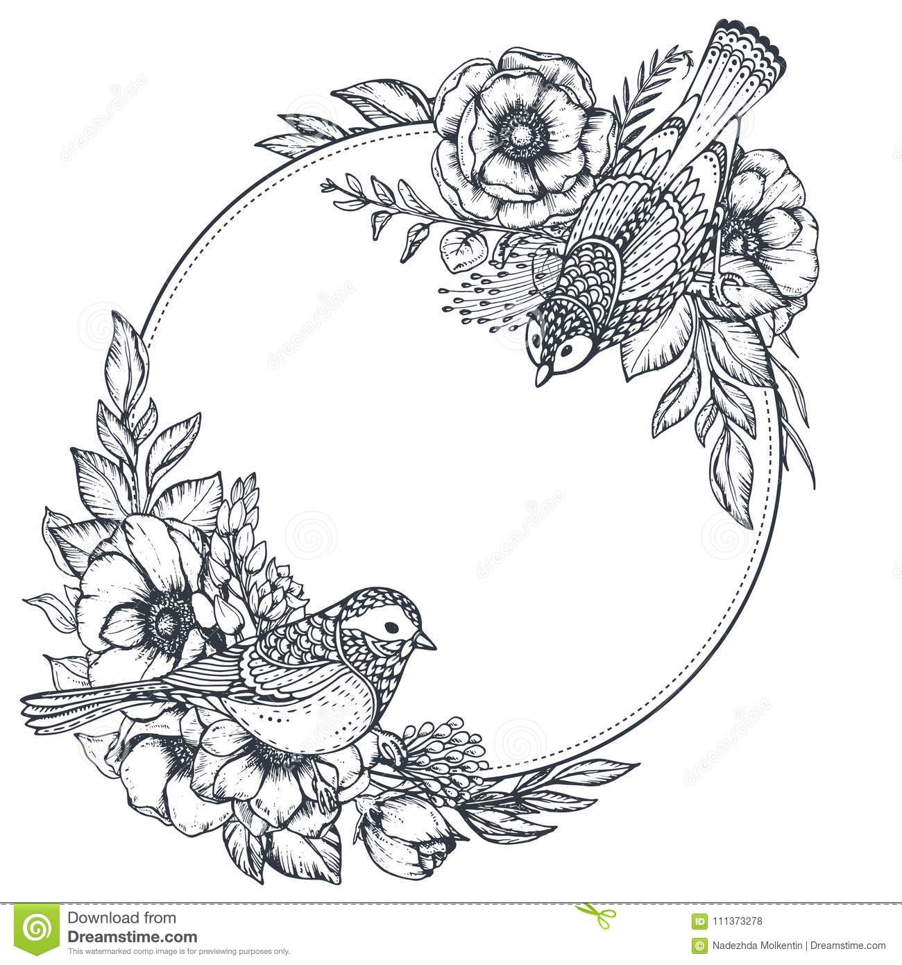 Flowers Made Black Brids: Vector Floral Frame With Bouquets Of Hand Drawn Anemone