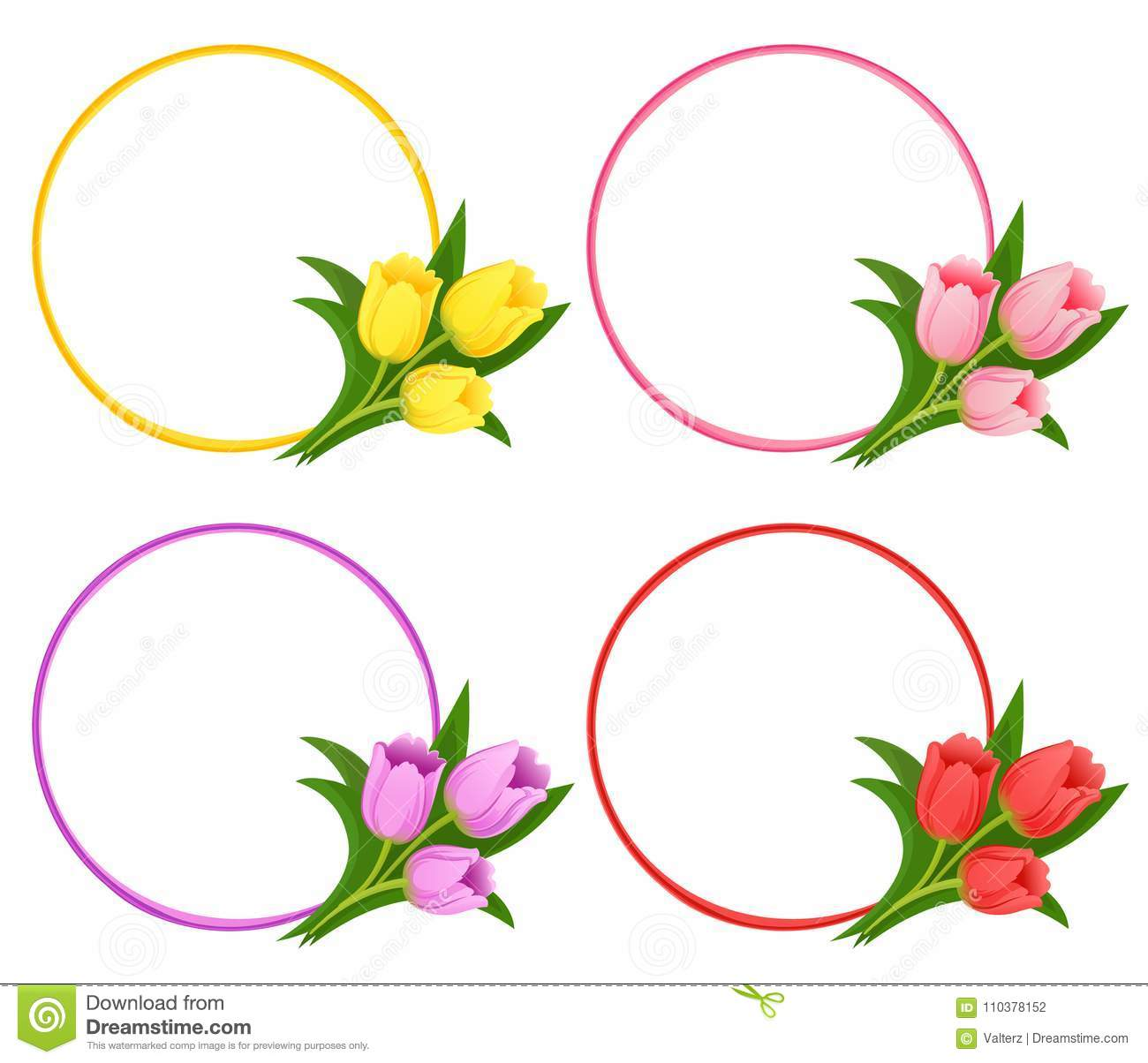 Vector Floral Frames With Bouquets Of Tulips Stock Vector
