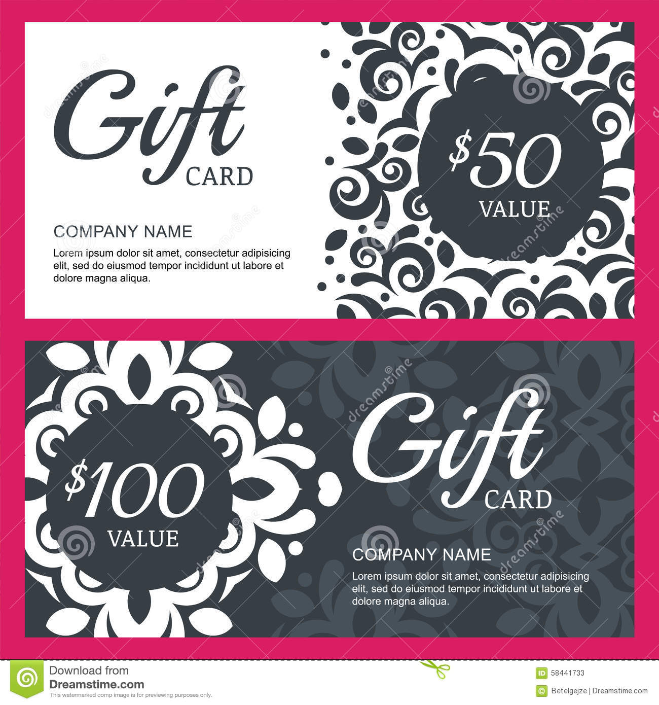 Vector Floral Gift Voucher Or Card Background Template ...
