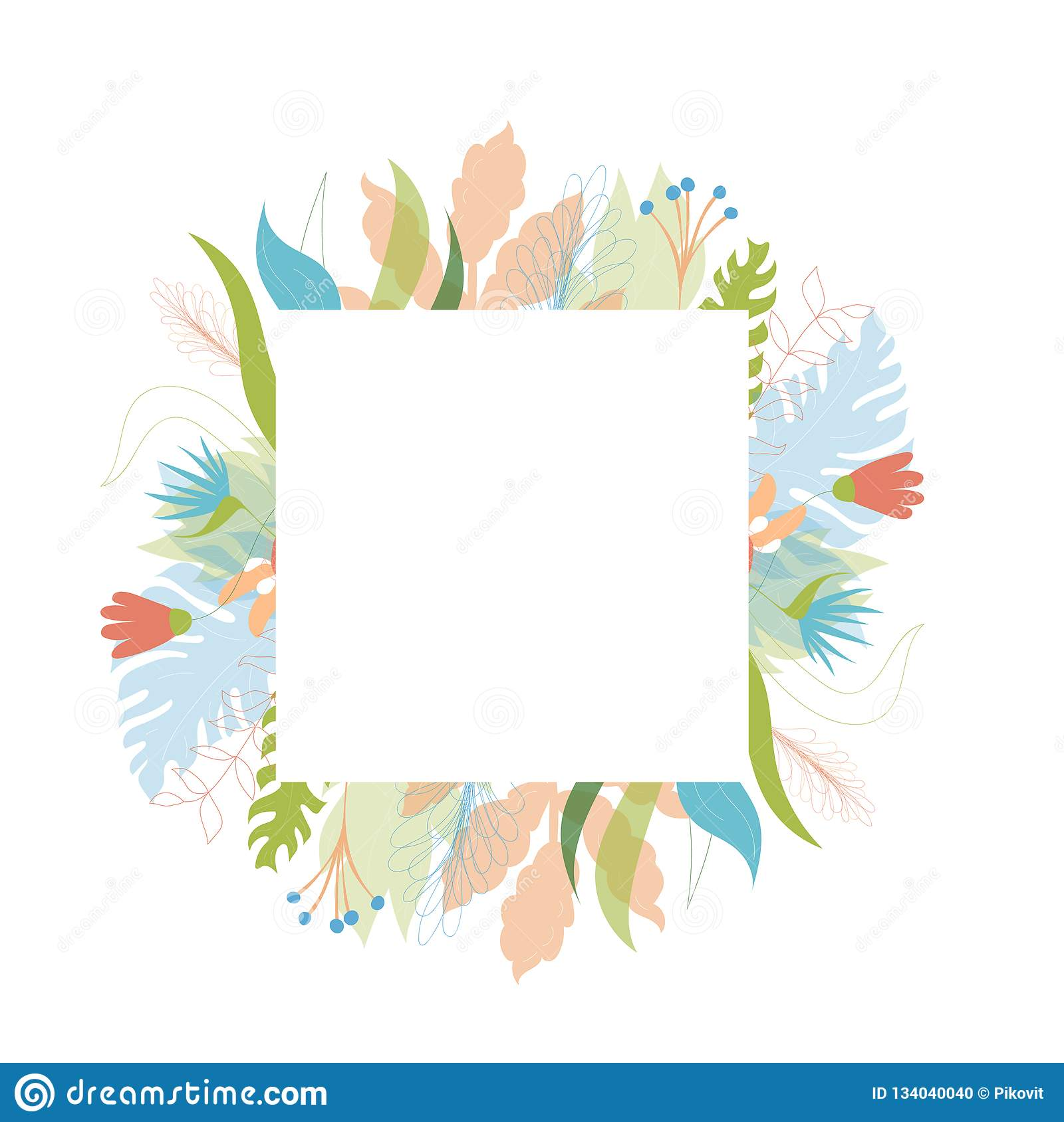 vector floral greeting card template stock vector