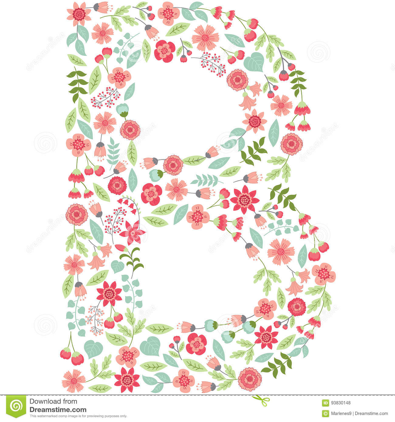 vector floral letter b vector floral abc english floral stock