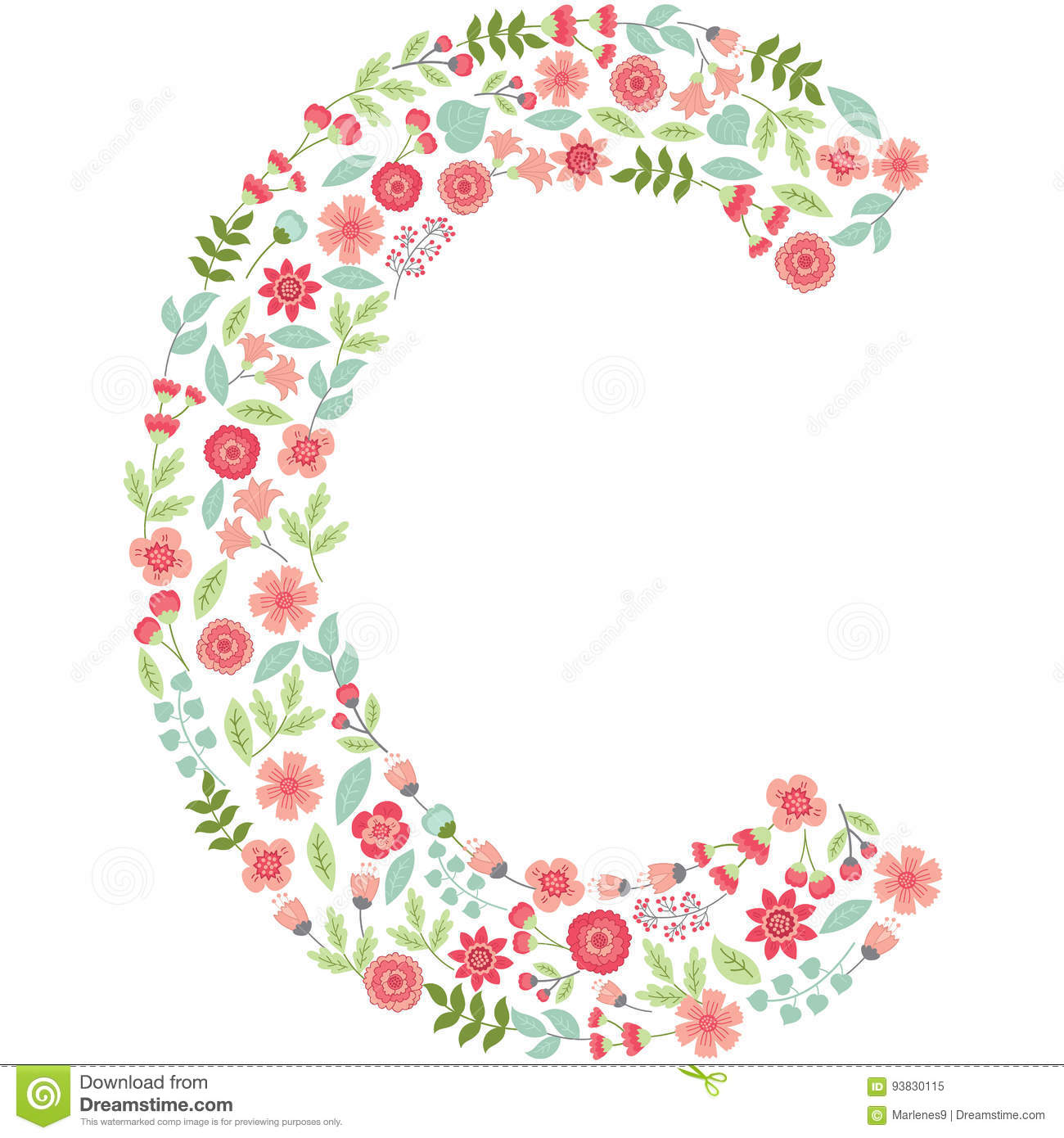 vector floral letter c vector floral abc english floral stock