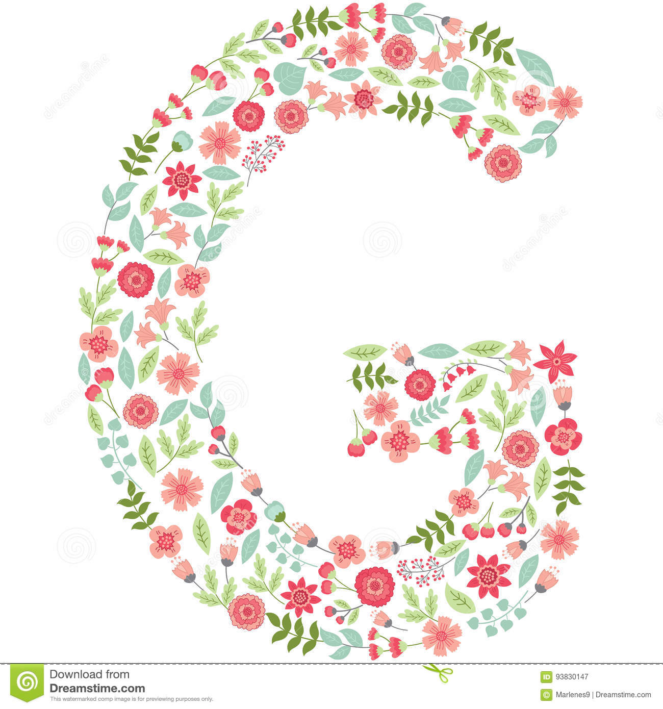 vector floral letter g vector floral abc english floral stock