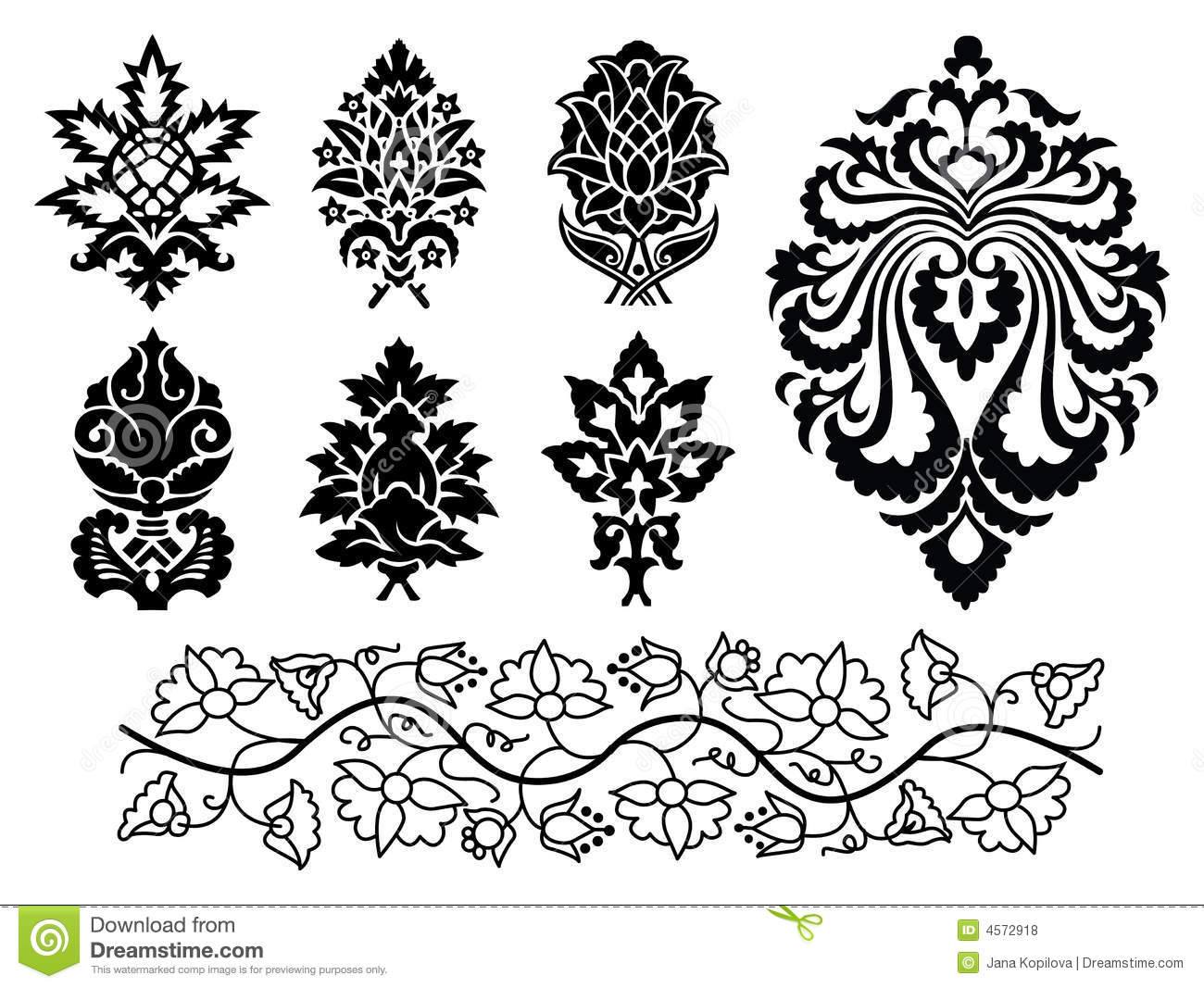 vector floral ornament set stock vector image of tattoo