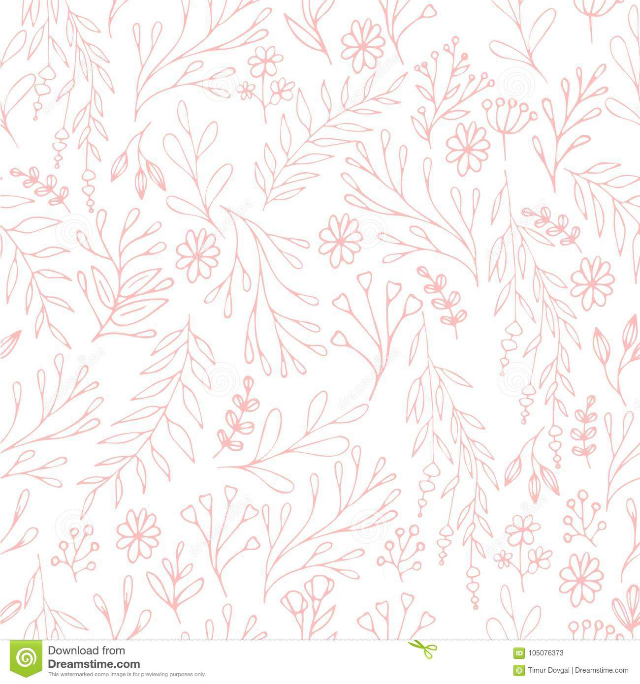 Vector Floral Pattern In Doodle Style With Flowers And