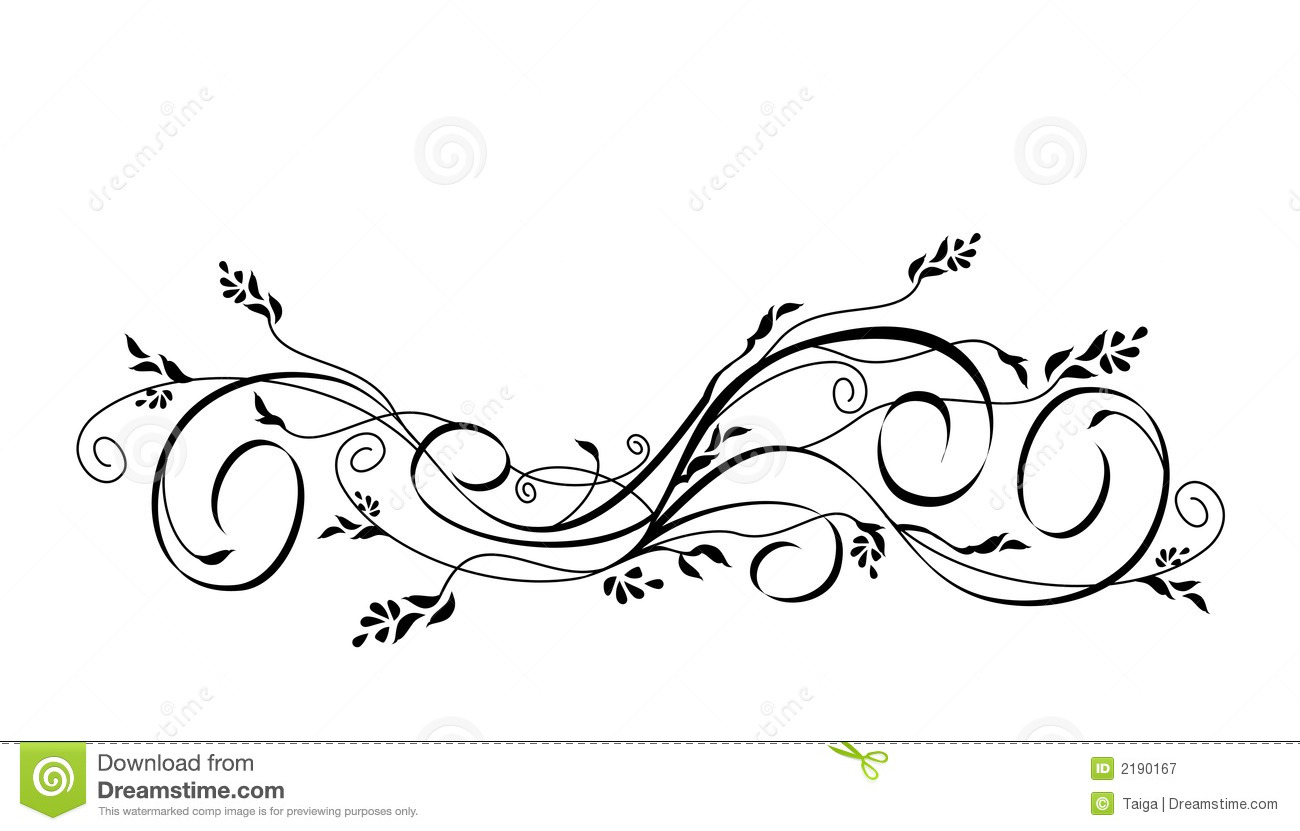 Royalty Free Stock Photography: Vector floral scroll ornament