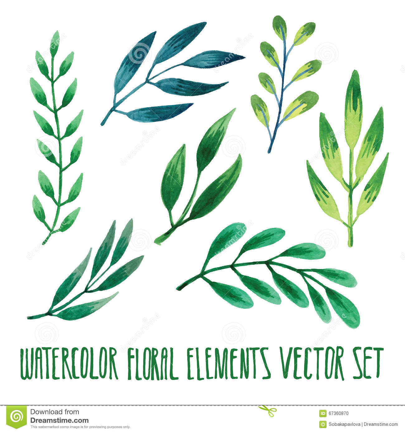 Vector Floral Set Colorful Floral Collection With Leaves