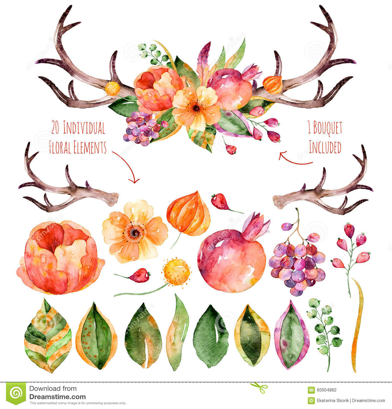 Vector floral set. Colorful purple floral collection with leaves, horns and flowers, drawing watercolor+colorful floral bouquet wi