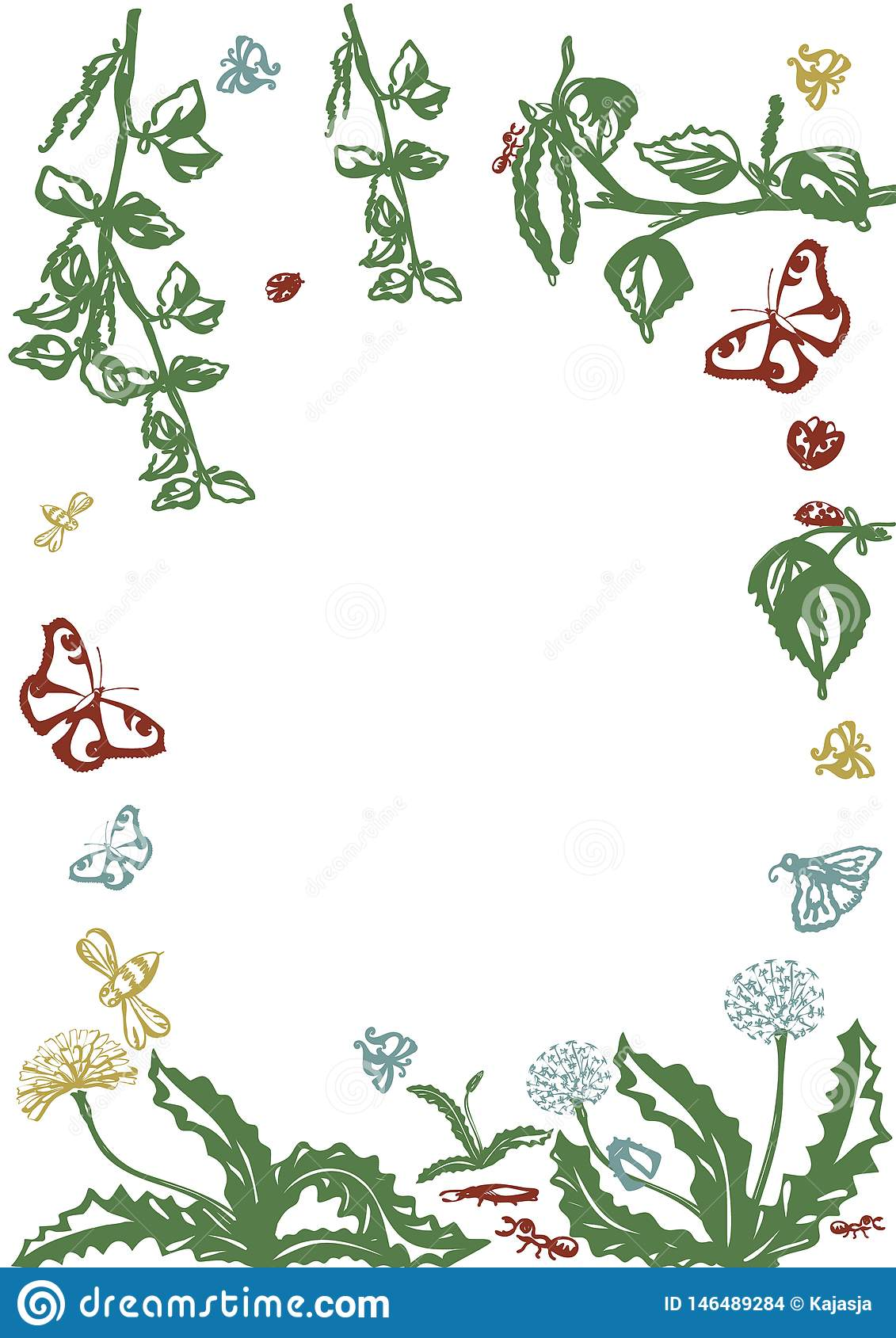 Vector floral set. Graphic collection with leaves and flowers, drawing elements. Spring or summer design for invitation, wedding