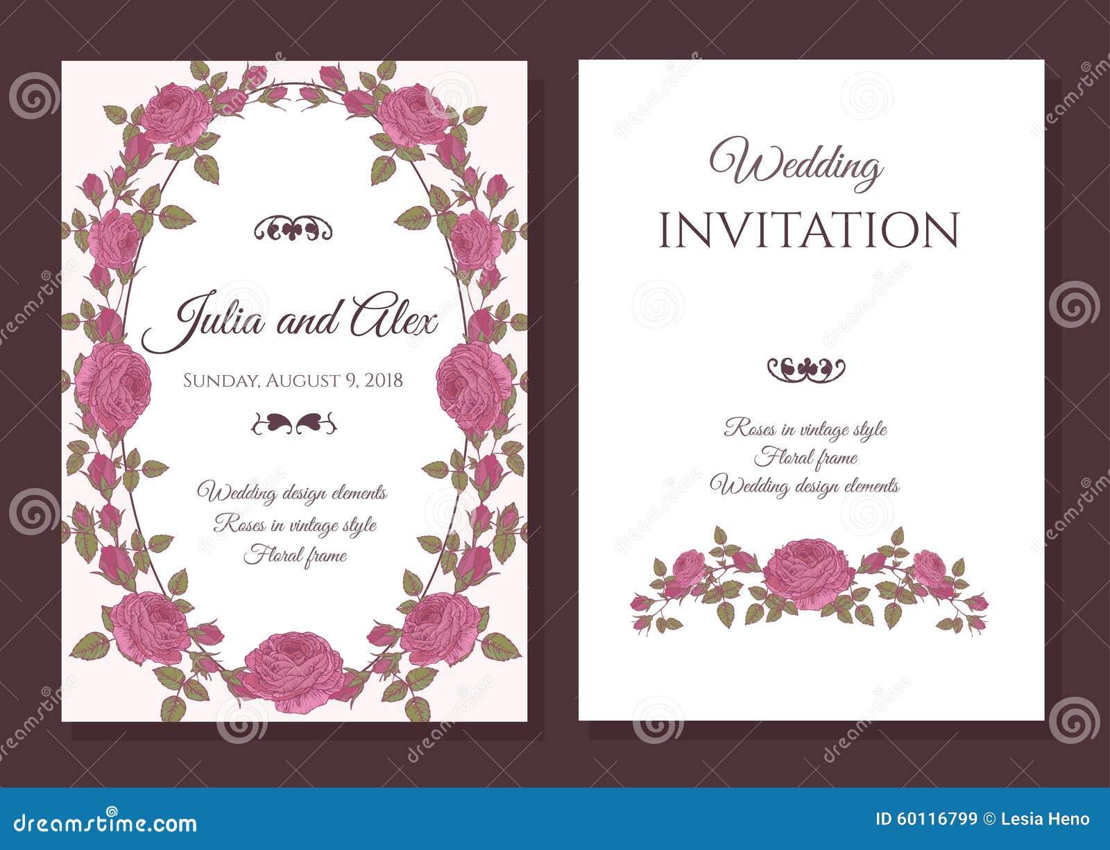 Wedding Invitation Frames: Vector Floral Wedding Invitation Card With Frame Of Pink