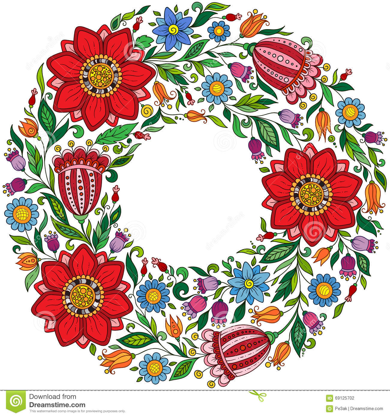 Vector Floral Wreath Card. stock illustration. Illustration of line ...