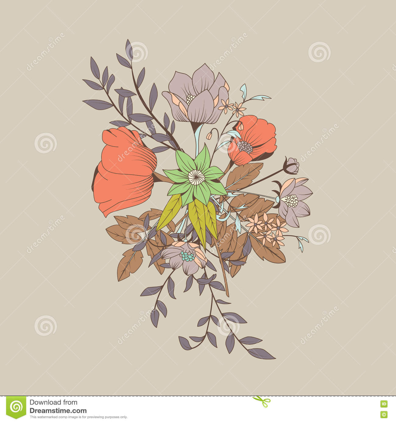 Vector Flower Bouquet, Botanical And Floral Decoration Hand Draw ...