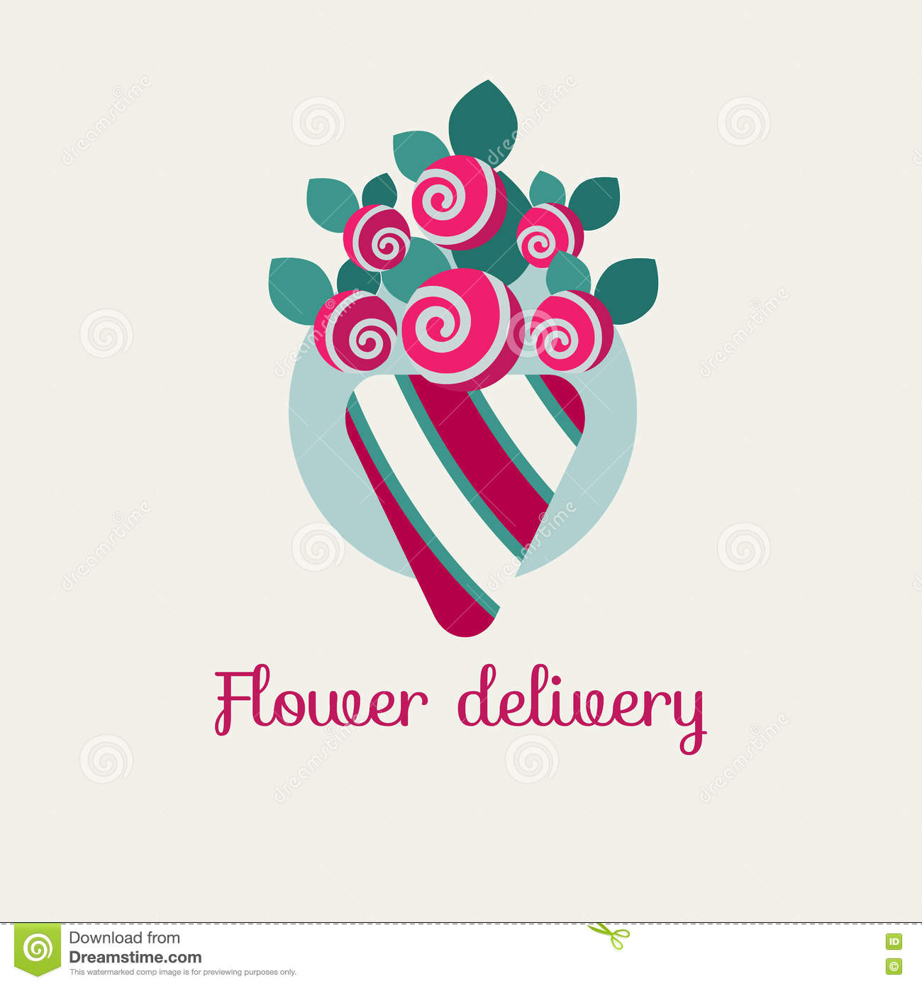 Vector flower delivery stock vector. Illustration of logotype - 81713278