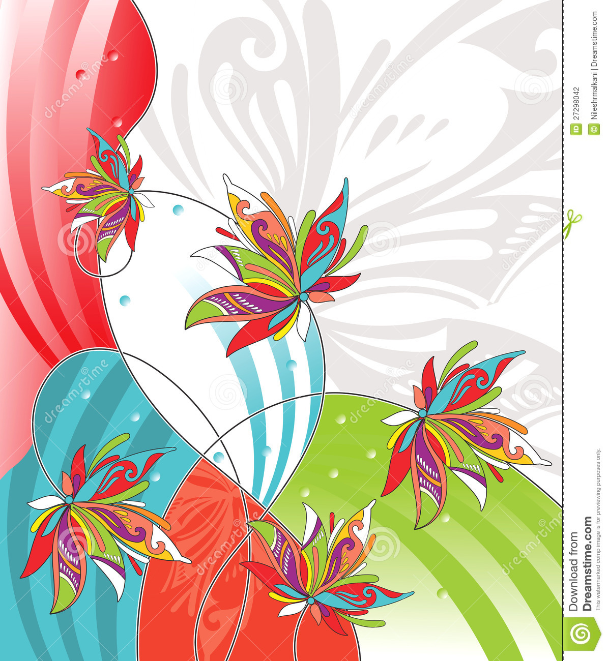 Vector Flower Design For Greeting Card Stock Vector Illustration