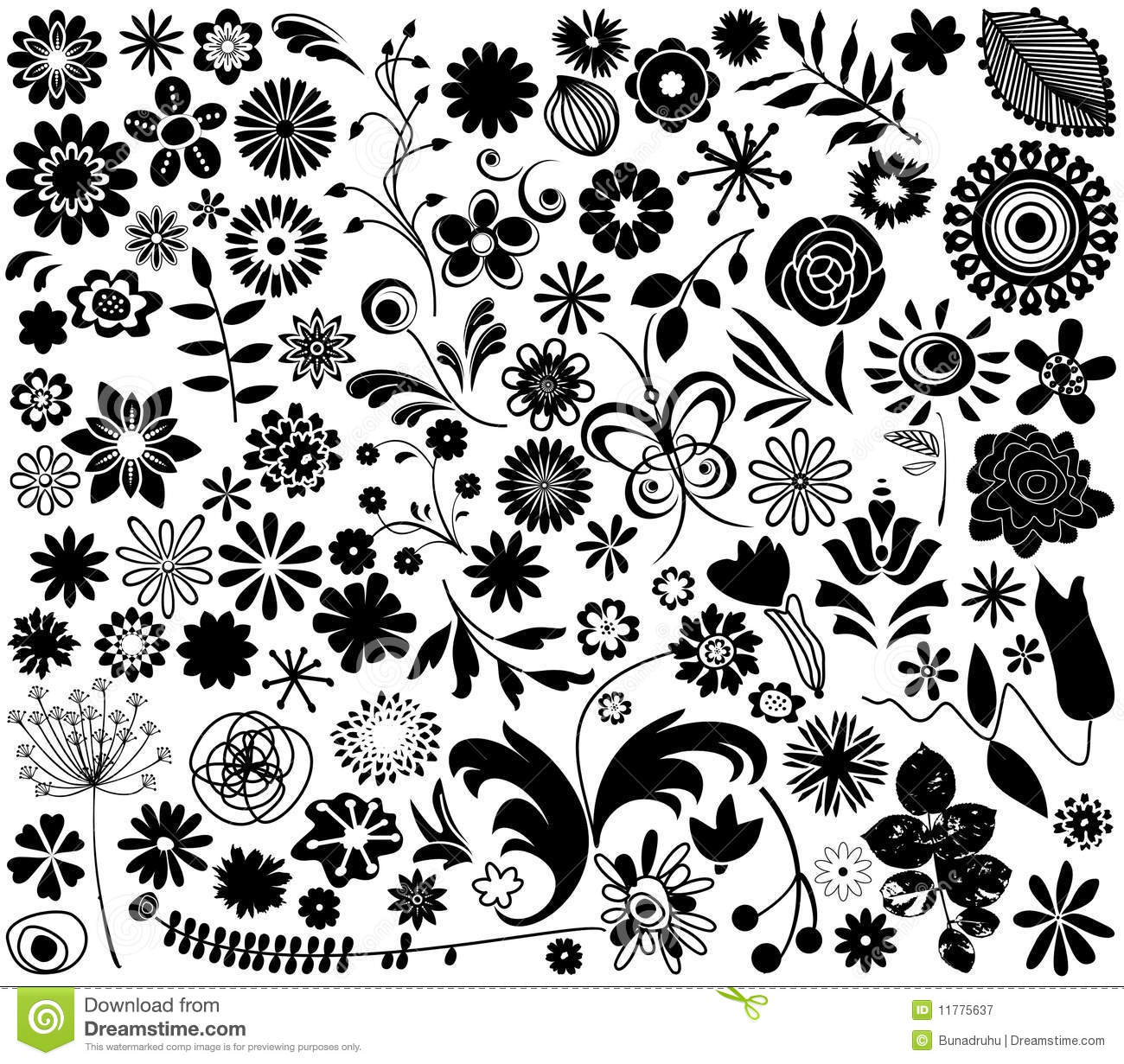 Black Flower Silhouette Pattern Royalty Free Stock Images: Vector Flower Elements Stock Vector. Illustration Of Draw