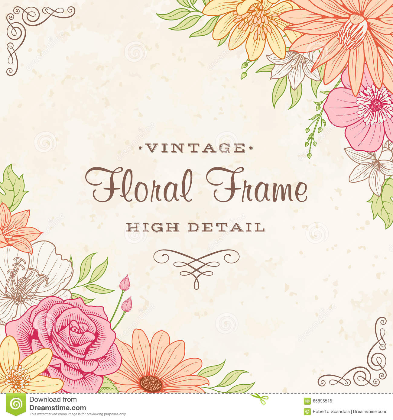 Vector Flower Frame stock vector. Illustration of illustration ...
