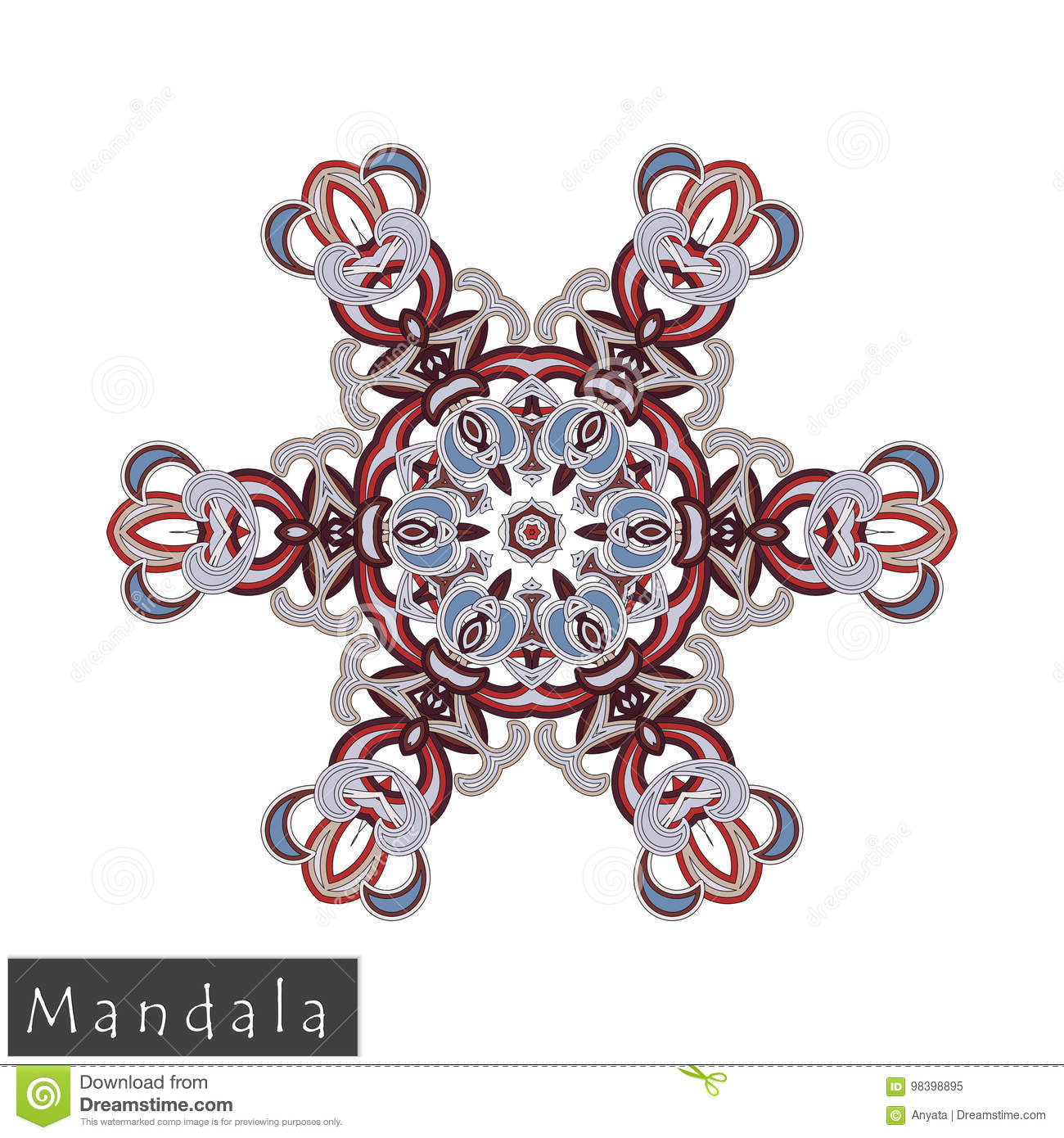 Vector Flower Mandala Icon Isolated On White Stock Vector