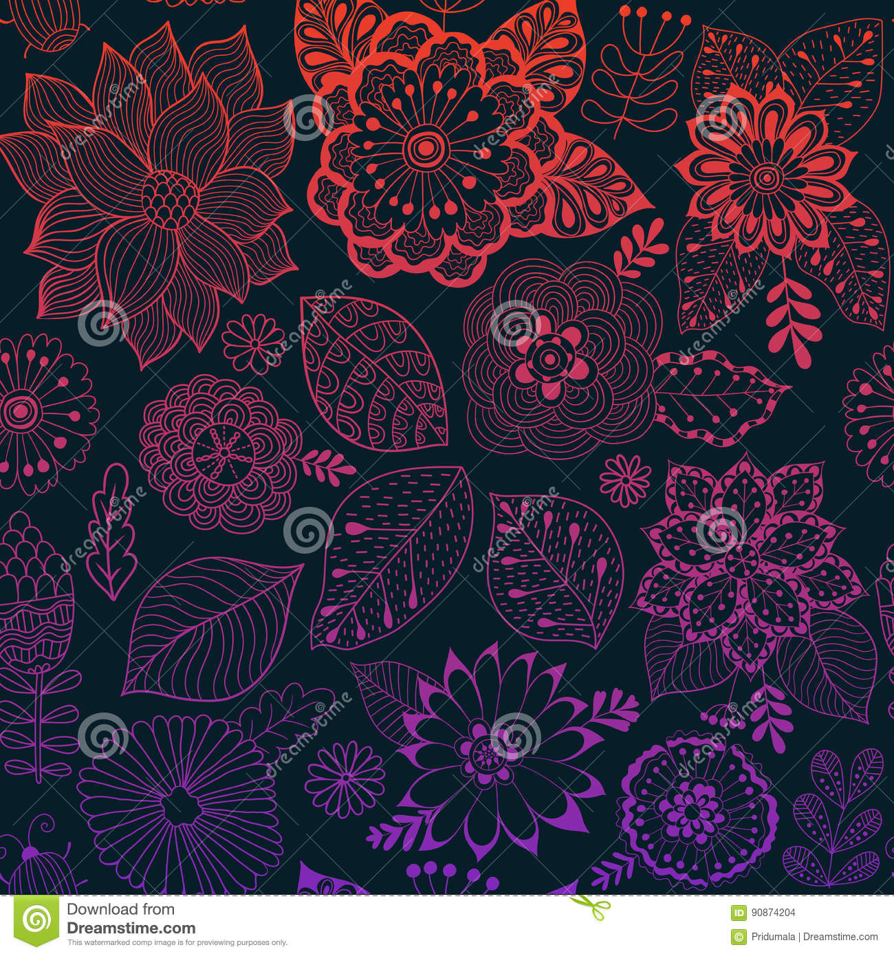 Vector flower pattern. Colorful seamless botanic texture, detailed flowers illustrations. All elements are not cropped