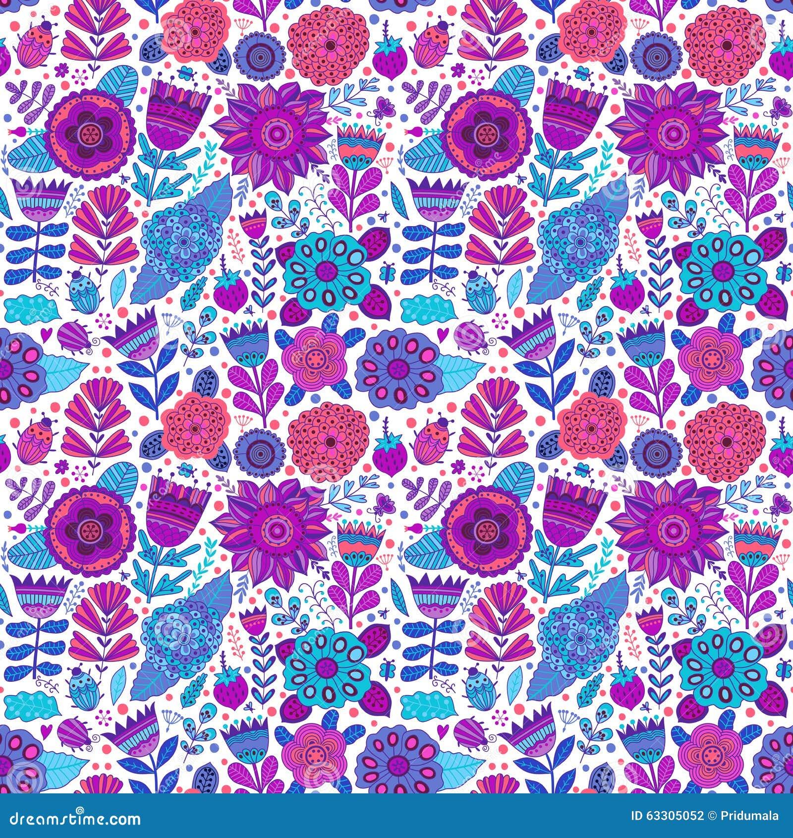 Vector Flower Pattern. Seamless Botanic Texture, Detailed ...